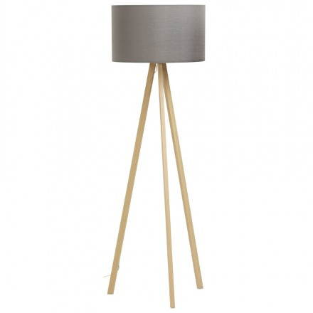 Scandinavian style TRANI (grey, natural) fabric floor lamp