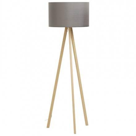 Lampe sur pied de style scandinave TRANI en tissu (gris, naturel)