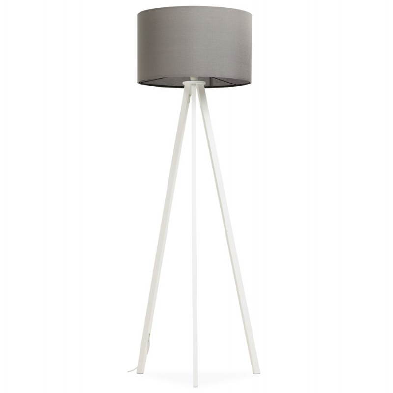 Scandinavian style TRANI in fabric (grey, white) floor lamp - image 23139