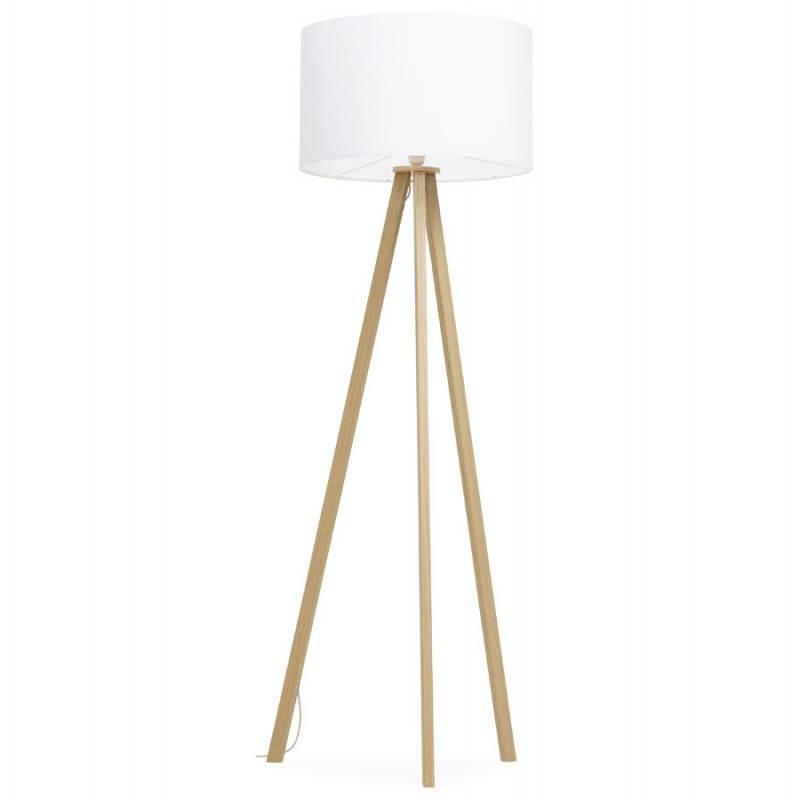 lampe sur pied de style scandinave trani en tissu blanc naturel. Black Bedroom Furniture Sets. Home Design Ideas
