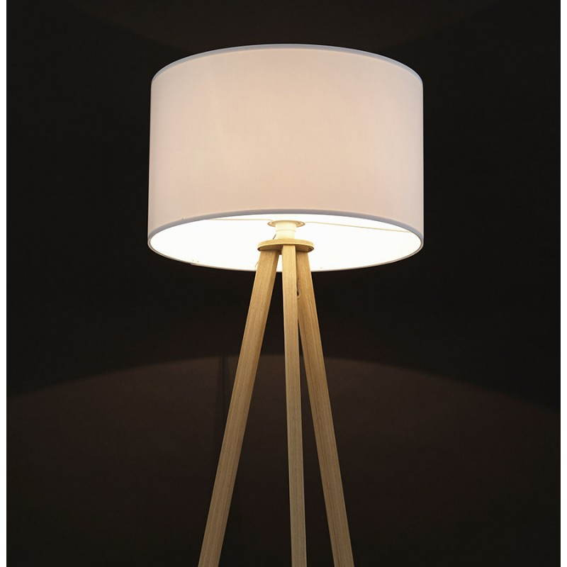 Scandinavian style TRANI (white, natural) fabric floor lamp - image 23183