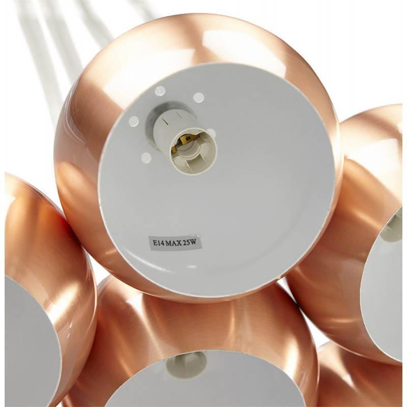Lampe suspendue rétro 7 boules GELA en métal (cuivre) - image 23216