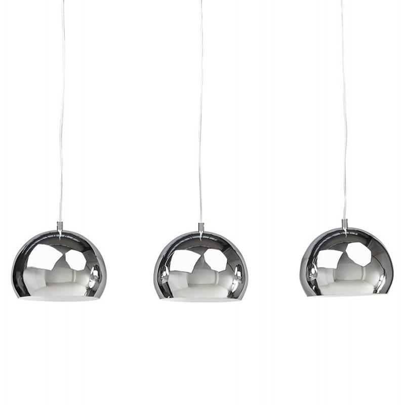 Lampe suspendue rétro 3 boules POUILLES en métal (chromé) - image 23250
