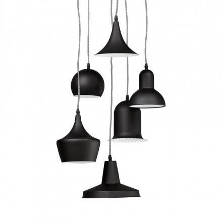 Industrial hanging lamp 6 globes MATERA metal (matte black)