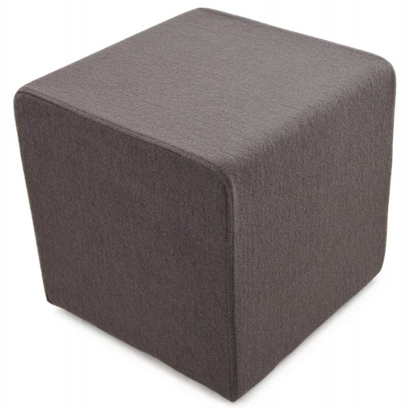 pouf carr barilla en tissu gris fonc. Black Bedroom Furniture Sets. Home Design Ideas