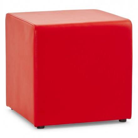 PORTICI polyurethane square pouf (red)