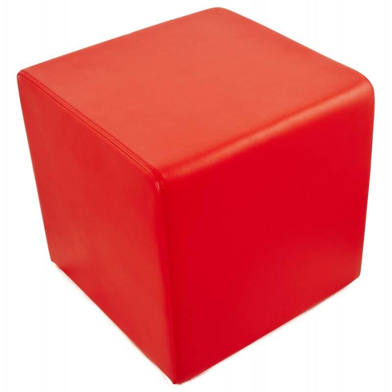 Pouf carré PORTICI en polyuréthane (rouge) - image 23367