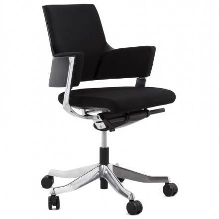 Fauteuil de bureau ergonomique BRIQUE en tissu (noir)
