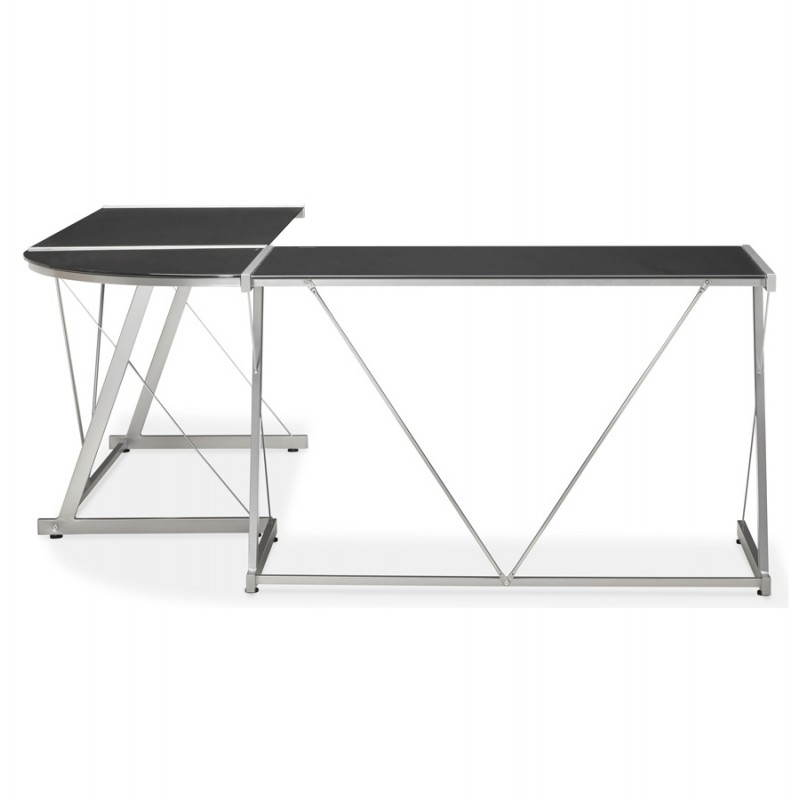 Bureau d'angle design ROVIGO en verre trempé et métal (noir) - image 23572