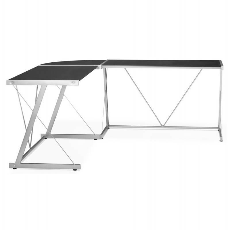 Bureau d'angle design ROVIGO en verre trempé et métal (noir) - image 23575