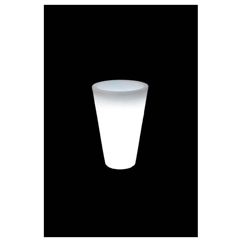 Pot ou vase lumineux intérieur extérieur BALSANE (blanc, H 45 cm)