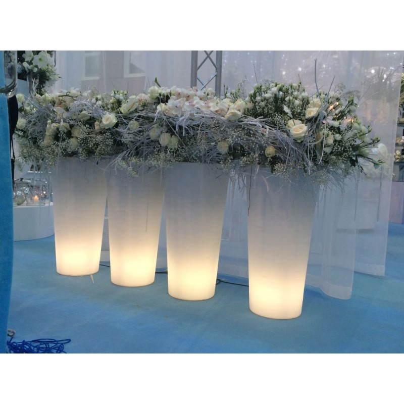 Pot ou vase lumineux intérieur extérieur BALSANE (blanc, H 63 cm) - image 24004