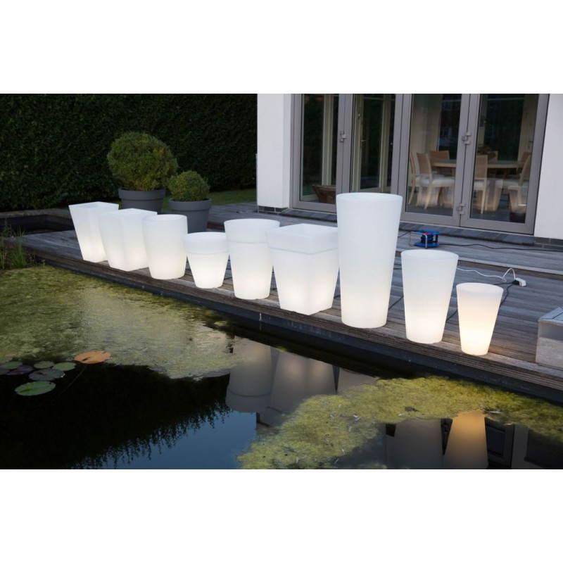 Pot ou vase lumineux rectangulaire intérieur extérieur KIWI (blanc, H 68 cm) - image 24056