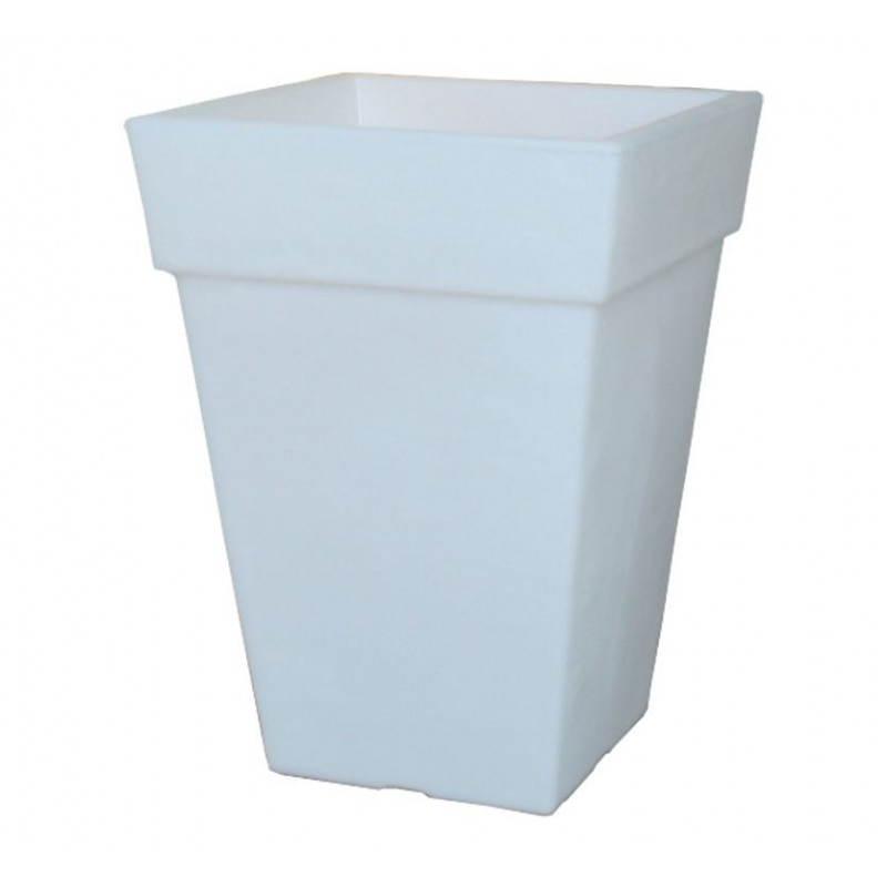 Pot ou vase lumineux rectangulaire intérieur extérieur KIWI (blanc, H 68 cm) - image 24060