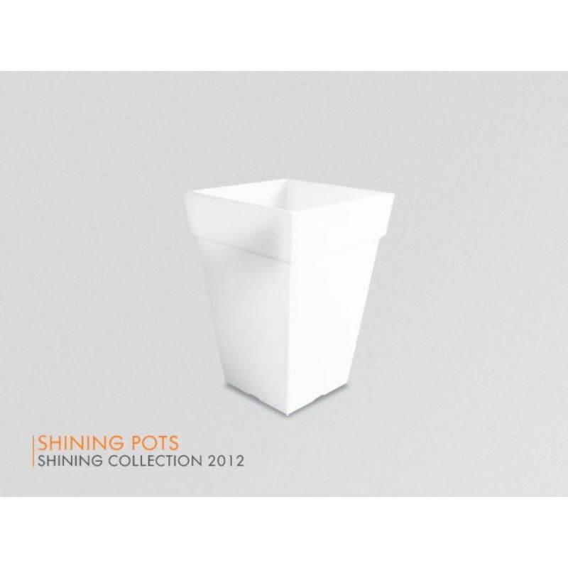 Pot ou vase lumineux rectangulaire intérieur extérieur KIWI (blanc, H 68 cm) - image 24061