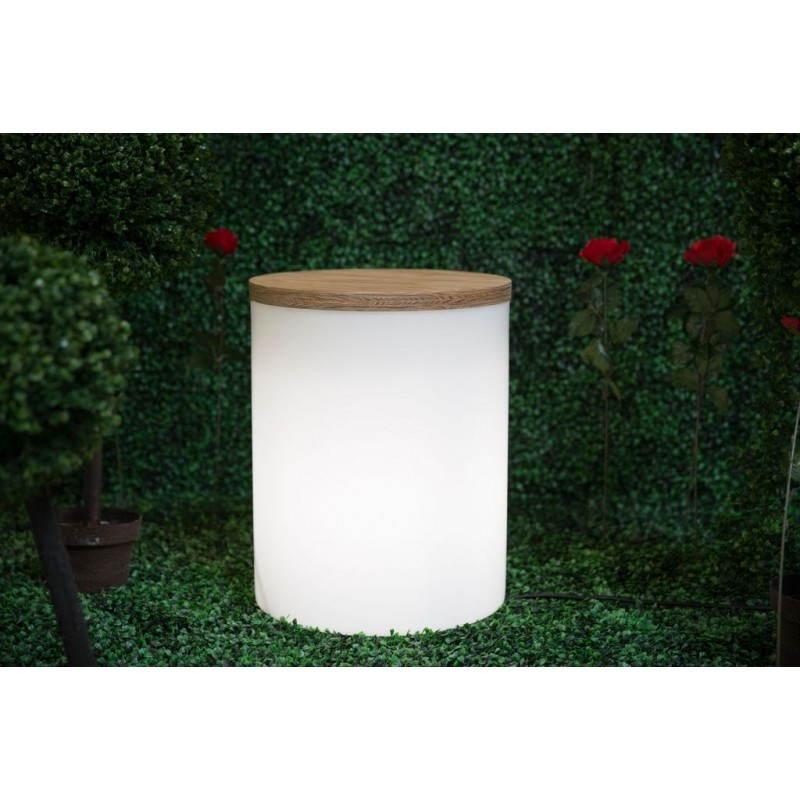 Table basse lumineuse cylindrique EVA intérieur extérieur (blanc) - image 24436