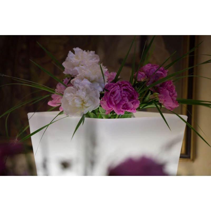Pot ou vase lumineux rectangulaire KIWI intérieur extérieur (blanc, H 60 cm) - image 24520