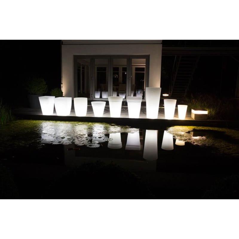 Pot ou vase lumineux rectangulaire KIWI intérieur extérieur (blanc, H 60 cm) - image 24522