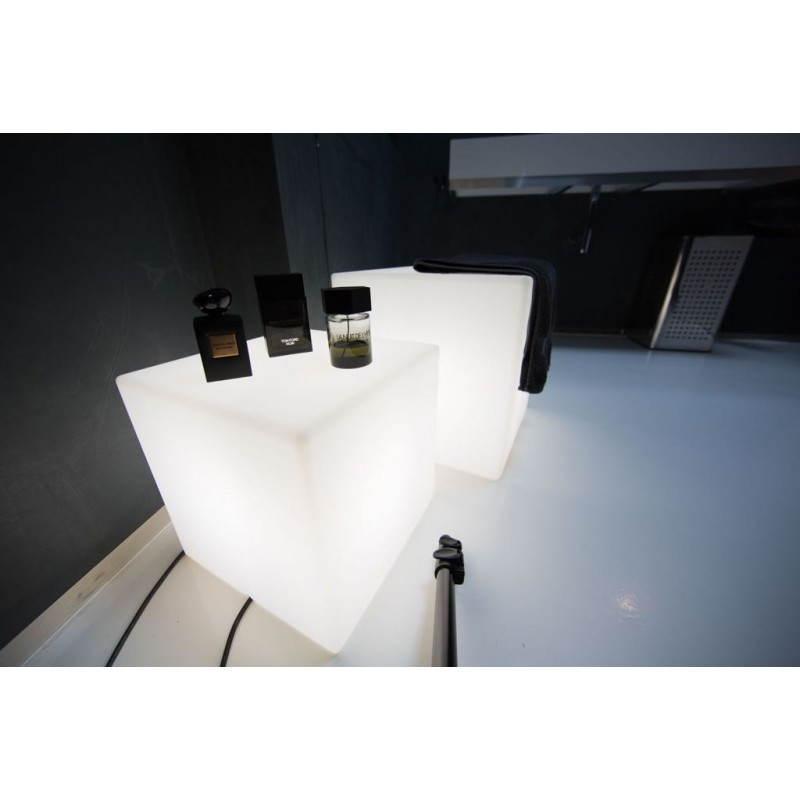Table basse lumineuse CUBE intérieur extérieur (blanc, H 43 cm)