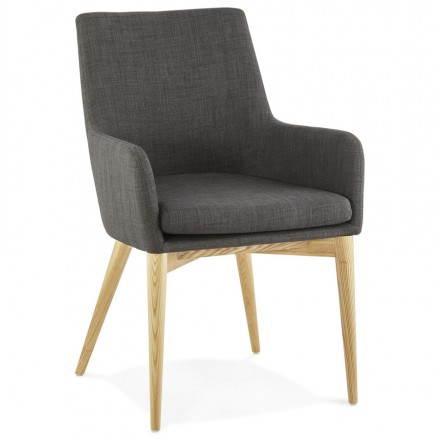 Design scandinavo stile tessuto sedia di BARBARA (grigio scuro)