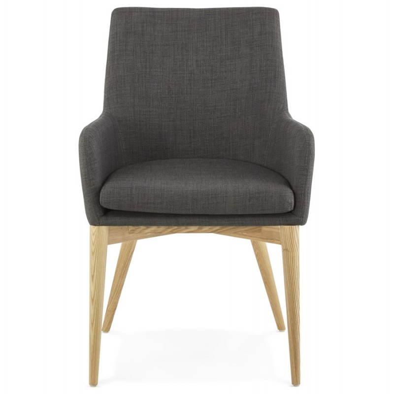 Fauteuil de style scandinave design BARBARA en tissu (gris foncé) - image 25039