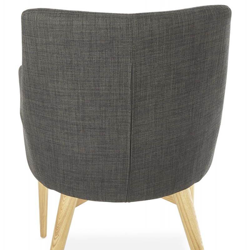 Fauteuil de style scandinave design BARBARA en tissu (gris foncé) - image 25044