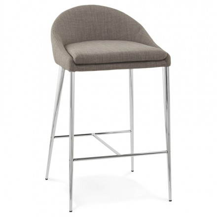 Stool design mid-height LINDA (grey) fabric