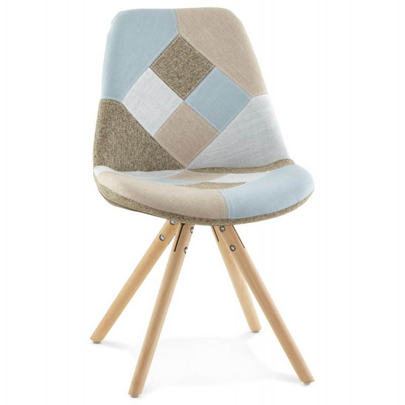 chair patchwork style scandinavian bohemian fabric blue grey beige