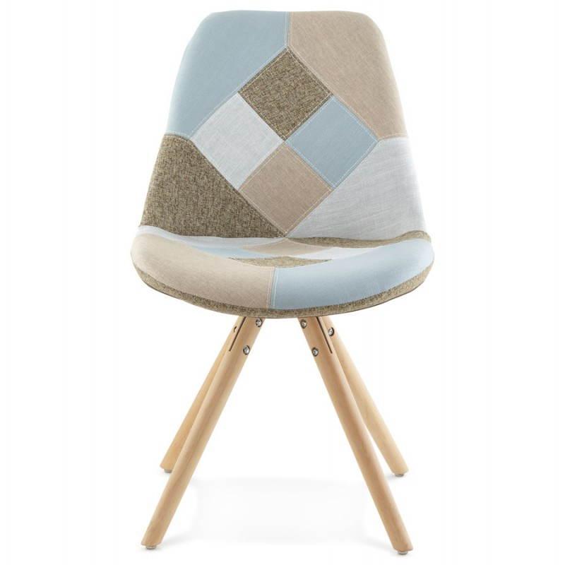 Chaise patchwork style scandinave BOHEME en tissu (bleu, gris, beige) - image 25357