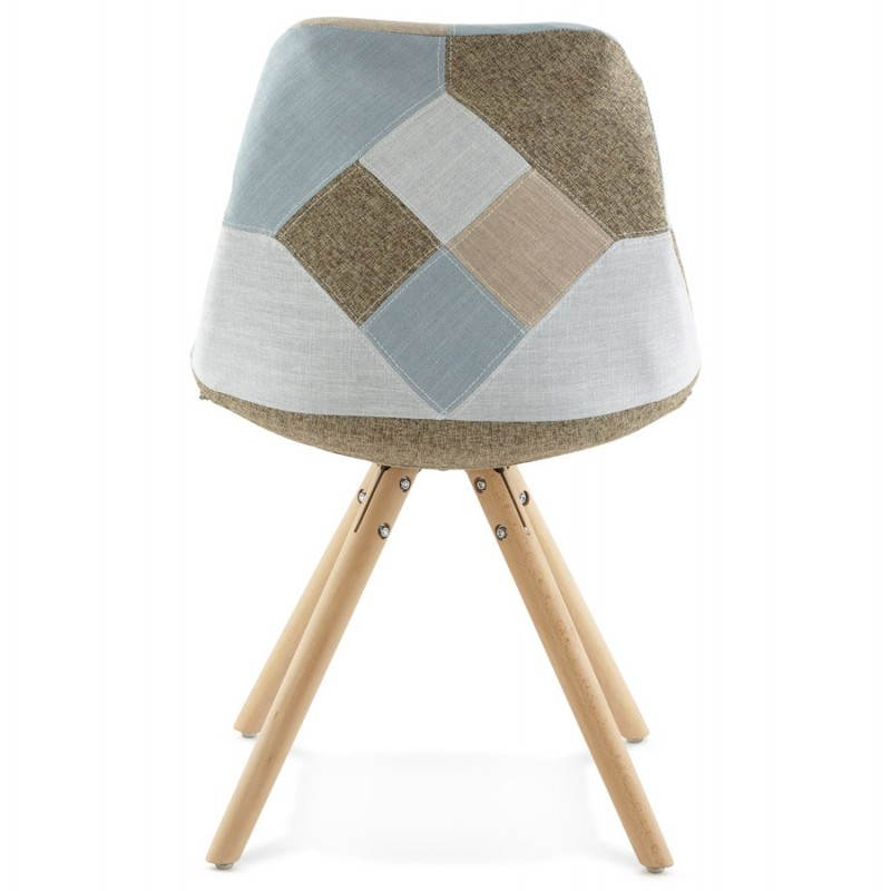 Chair patchwork style scandinavian bohemian fabric blue grey beige - Chaise eleven patchwork colors ...