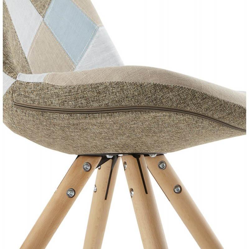 Chaise patchwork style scandinave BOHEME en tissu (bleu, gris, beige) - image 25364