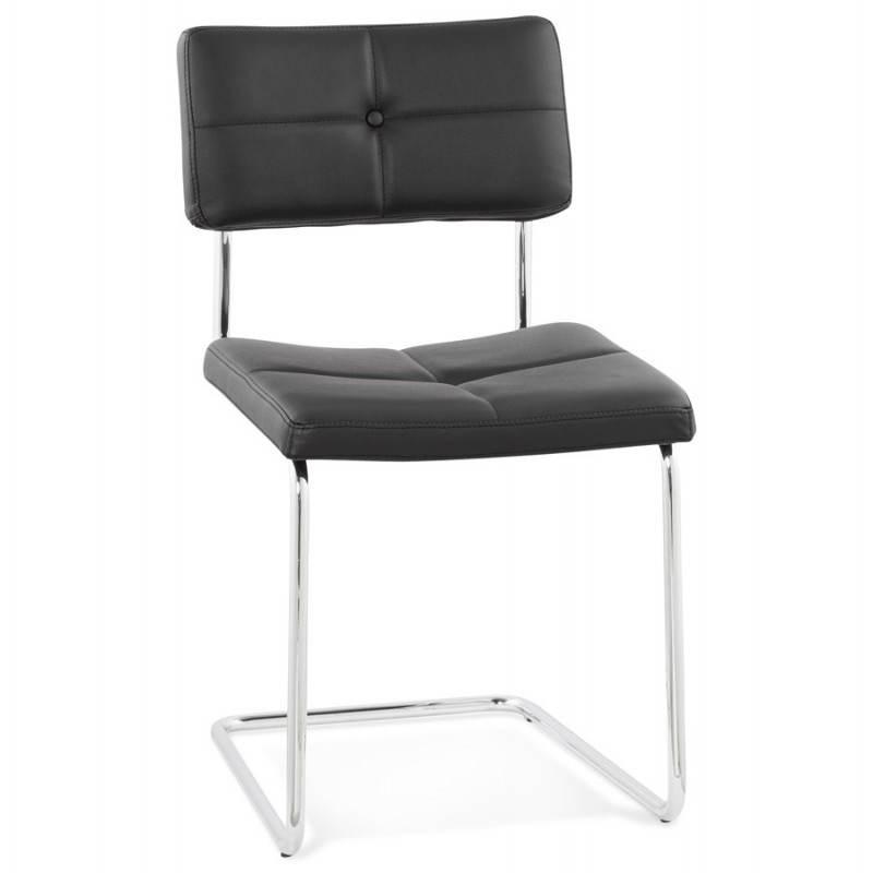 Chaise design capitonnée BONOU en polyuréthane (noir) - image 25396