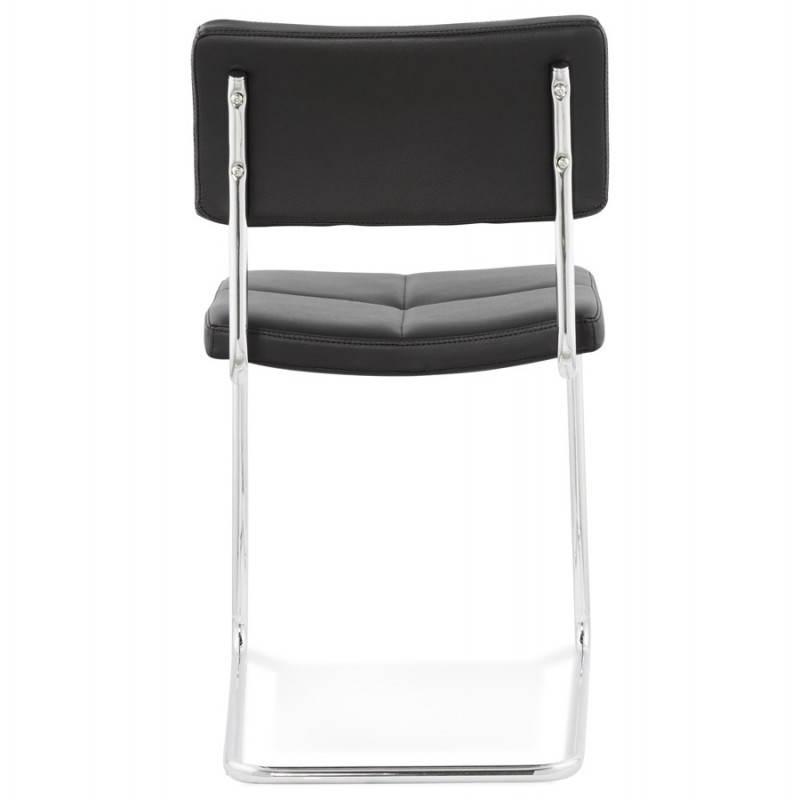 Chaise design capitonnée BONOU en polyuréthane (noir) - image 25400
