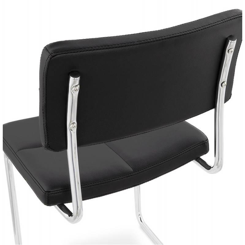 Chaise design capitonnée BONOU en polyuréthane (noir) - image 25401