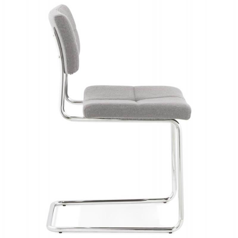Chaise design capitonnée BONOU en tissu (gris clair) - image 25411