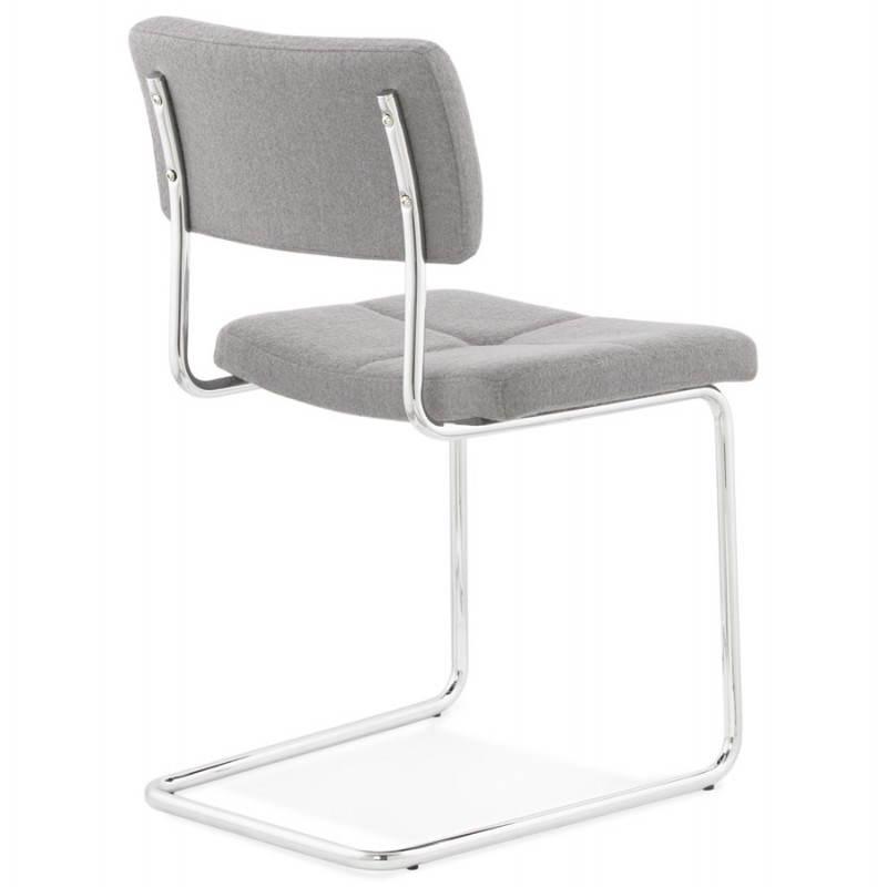 Chaise design capitonnée BONOU en tissu (gris clair) - image 25412