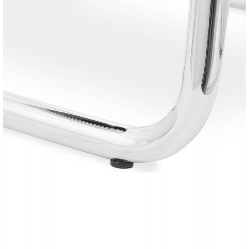 Chaise design capitonnée BONOU en tissu (gris clair) - image 25423