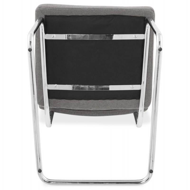 Chaise design capitonnée BONOU en tissu (gris clair) - image 25425