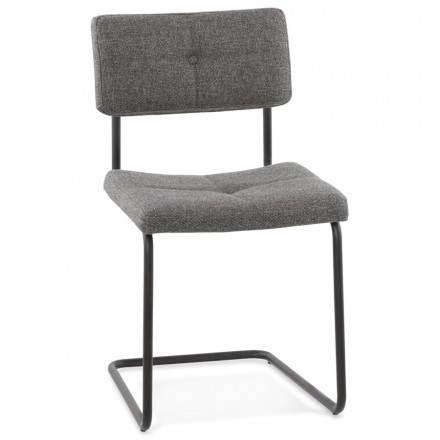 Chaise design capitonnée BONOU en tissu (gris foncé)