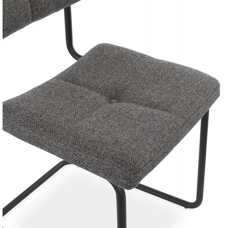 chaise design capitonn e bonou en tissu gris fonc. Black Bedroom Furniture Sets. Home Design Ideas