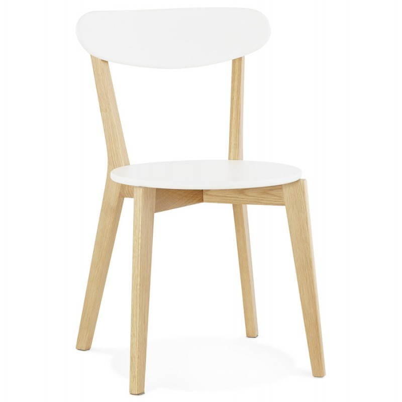 Chaise design style scandinave SCANDI en bois (blanc)
