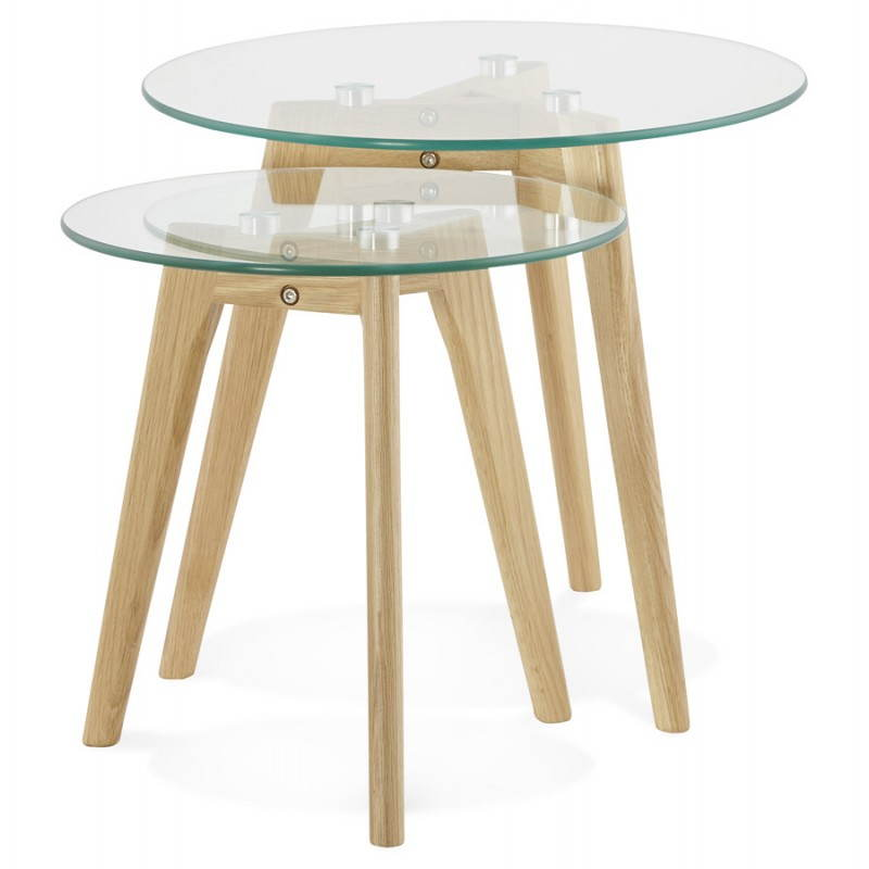 Coffee tables design pull-out ART in glass and oak (transparent) - image 25513