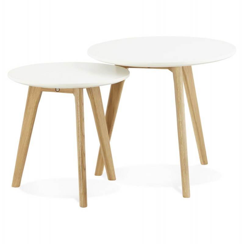 Tables basses design gigognes ART en bois et chêne massif (blanc) - image 25526