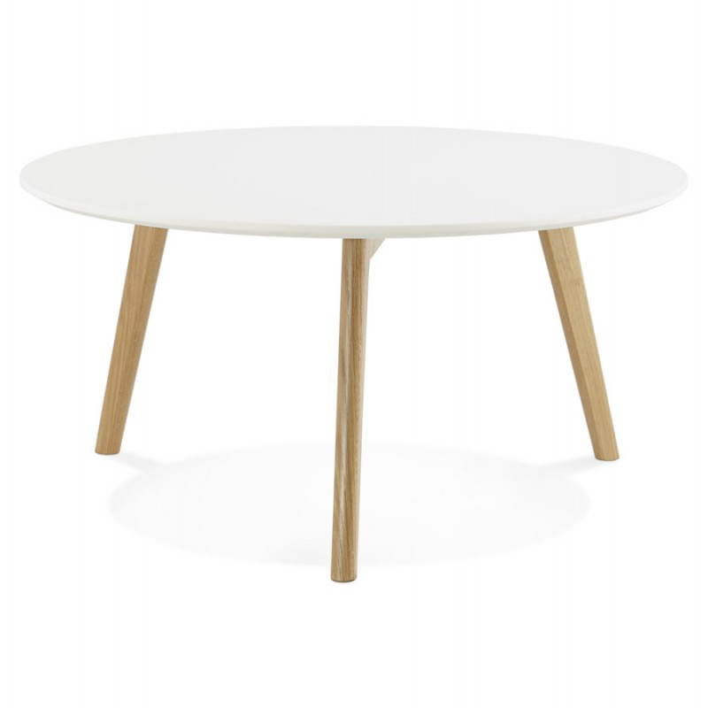 Tarot scandinavian coffee table in wood and oak white - Table basse blanc brillant ...