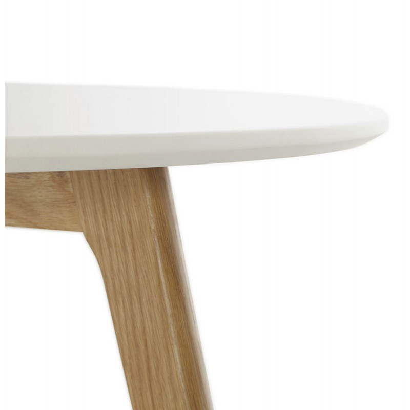 Table basse scandinave tarot en bois et ch ne massif blanc for Table bois chene massif