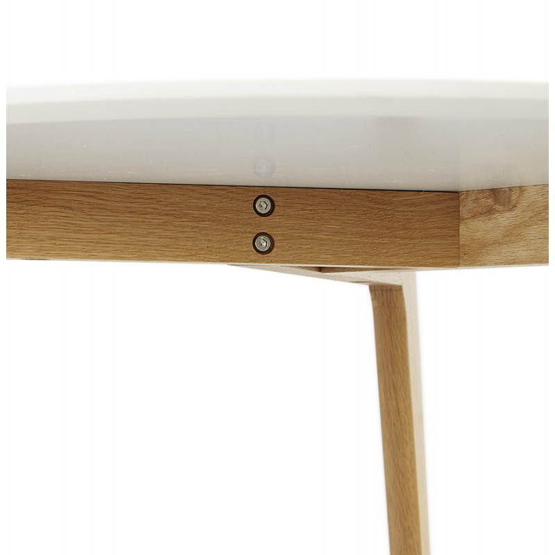 Table basse scandinave TAROT en bois et chêne massif (blanc) - image 25557