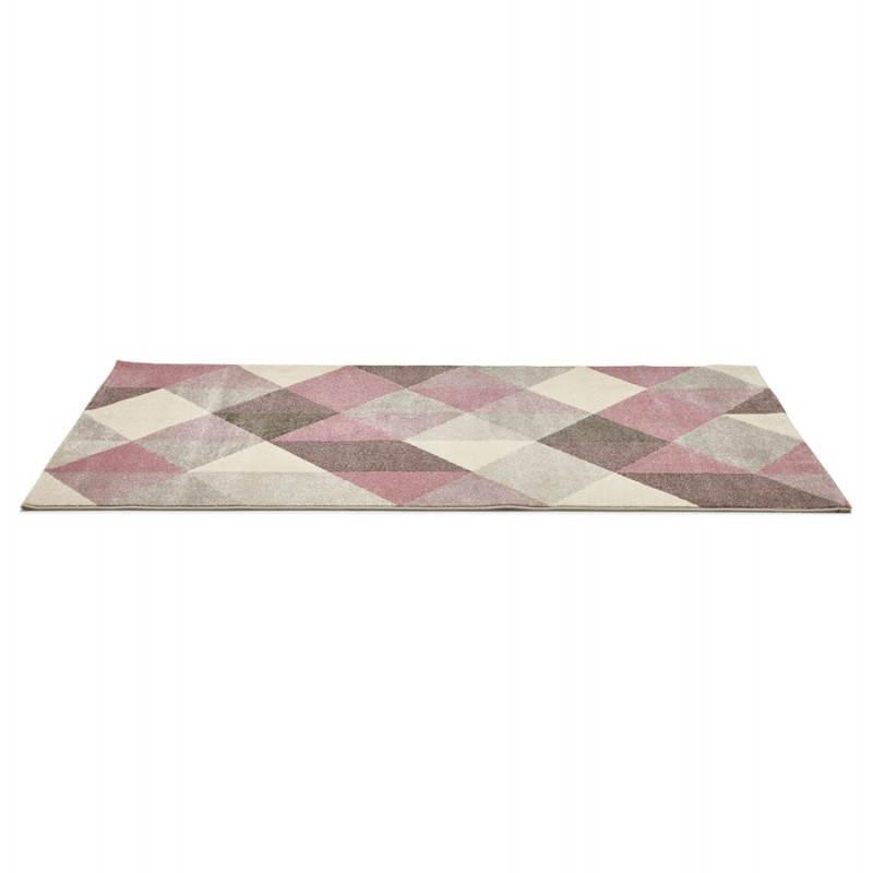 Tapis design style scandinave rectangulaire GEO (230cm X 160cm) (rose, gris, beige) - image 25563
