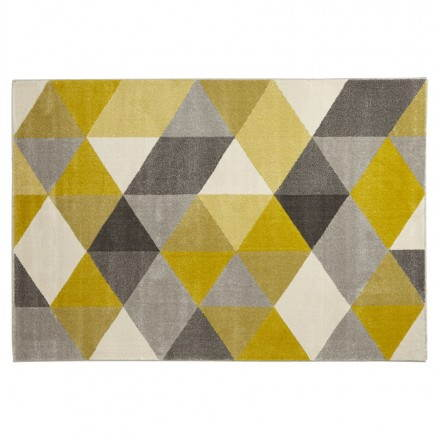 Carpet design rectangular Scandinavian style GEO (230cm X 160cm) (yellow, grey, beige)