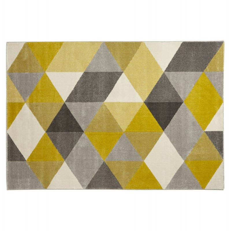 Carpet design rectangular Scandinavian style GEO (230cm X 160cm) (yellow, grey, beige) - image 25579