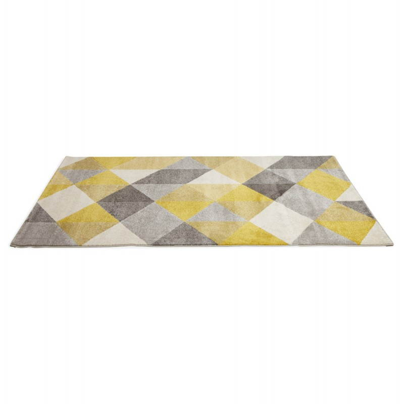 Carpet design rectangular Scandinavian style GEO (230cm X 160cm) (yellow, grey, beige) - image 25583